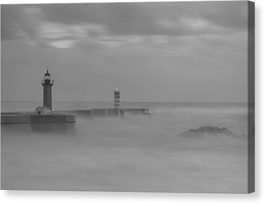 Long Exposure In Oporto In Bad Weather Canvas Print