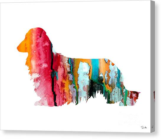 Dachshunds Canvas Print - Long Haired Dachshund 2 by Watercolor Girl
