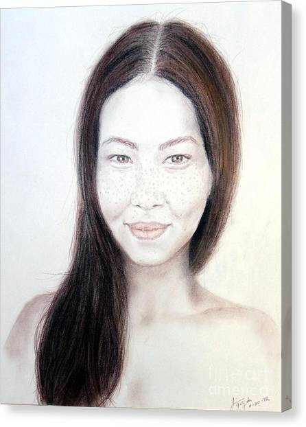 Lucy Liu Canvas Print - Long Haired Natural Asian Beauty by Jim Fitzpatrick