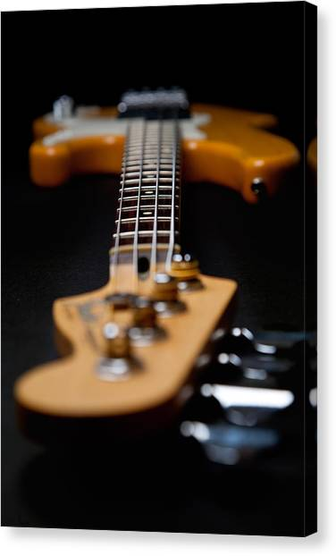 Bass Guitars Canvas Print - Long Neck by Peter Tellone