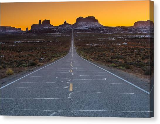 Singh Canvas Print - Long Road To Monument Valley by Larry Marshall