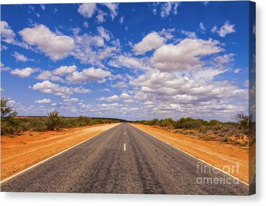 Long Straight Road Australia Outback Canvas Print