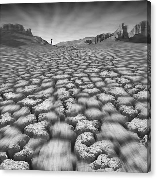 Black Rock Desert Canvas Print - Long Walk On A Hot Day by Mike McGlothlen