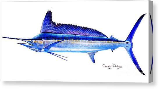 Spearfishing Canvas Print - Longbill Spearfish by Carey Chen