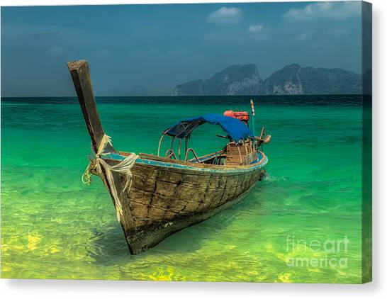Boats Canvas Print - Longboat by Adrian Evans