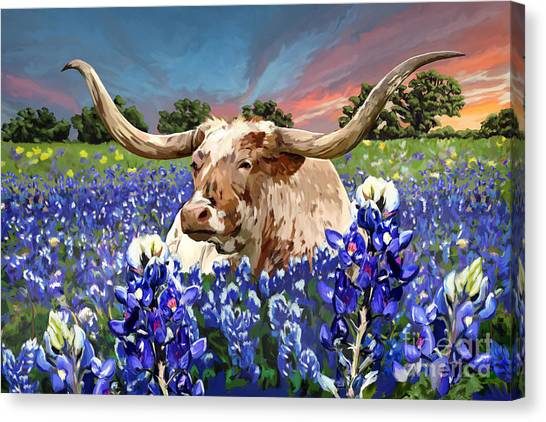 Bluebonnets Canvas Print - Longhorn In Bluebonnets by Tim Gilliland