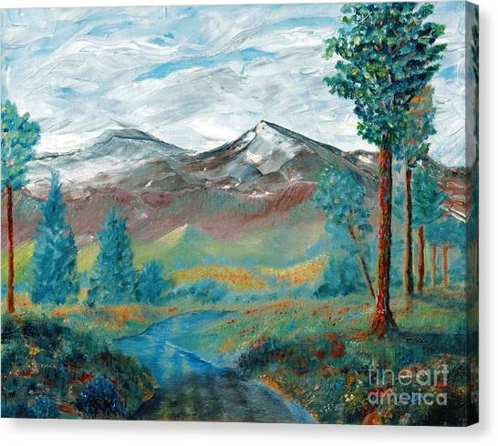 Longs Peak And Mt. Mitchell Canvas Print by Stephen Schaps