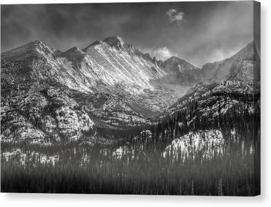 Longs Peak Rocky Mountain National Park Black And White Canvas Print