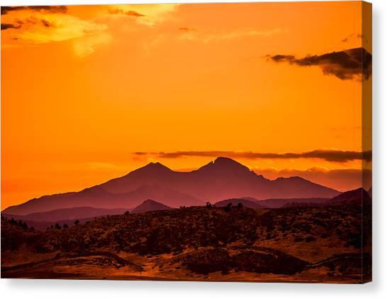 Longs Peak Smoke And Sunset Canvas Print by Rebecca Adams