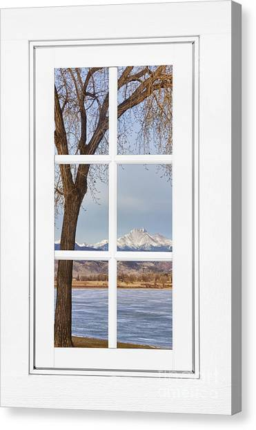 Longs Peak Winter View Through A White Window Frame Photograph by ...