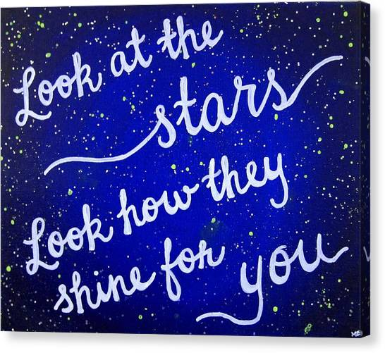 Coldplay Canvas Print - Look At The Stars Quote Painting by Michelle Eshleman