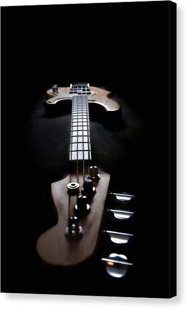 Bass Guitars Canvas Print - Look Down The Long Neck by Peter Tellone