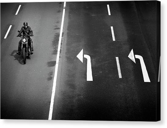 Street Signs Canvas Print - Look Left Twice by Marc Apers