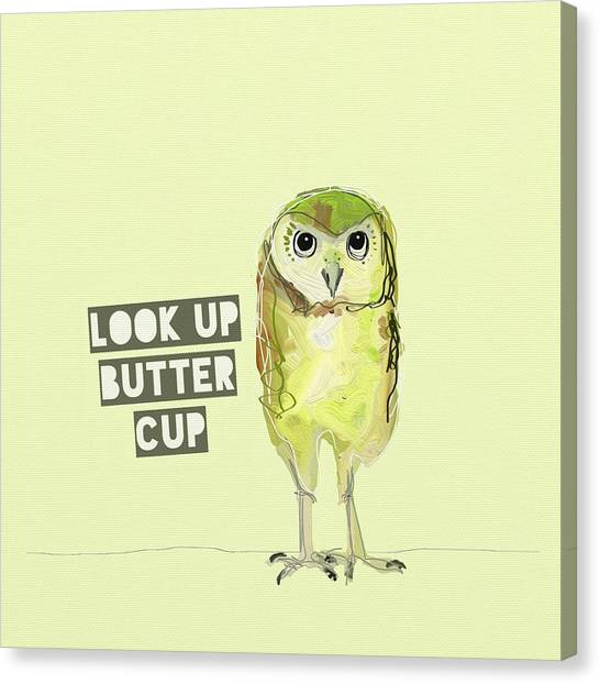 Owls Canvas Print - Look Up Butter Cup by Cathy Walters