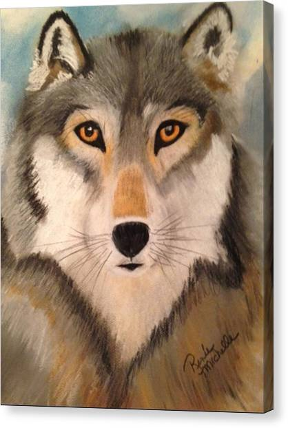 Looking At A Timber Wolf Canvas Print