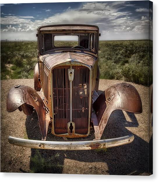 Petrified Forest Canvas Print - Looking Back On Route 66 by Medicine Tree Studios