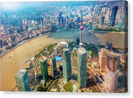 Shanghai Skyline Canvas Print - Looking Down Oriental Pearl Tv Tower by William Perry