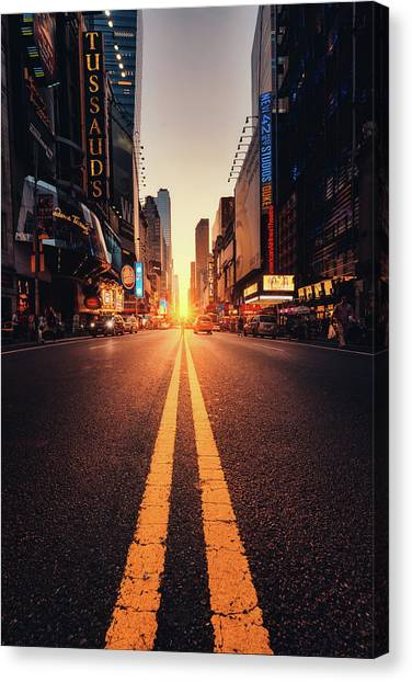 United Way Canvas Print - Looking For The Sunset In Nyc! by Javier Del Cerro