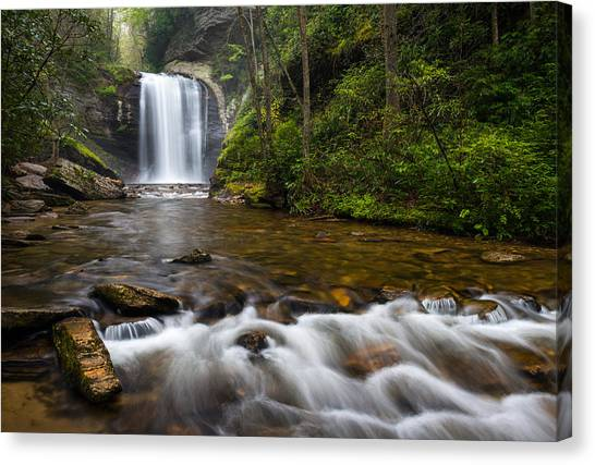 Blue Ridge Parkway Canvas Print - Looking Glass Falls - Blue Ridge Waterfalls Brevard Nc by Dave Allen