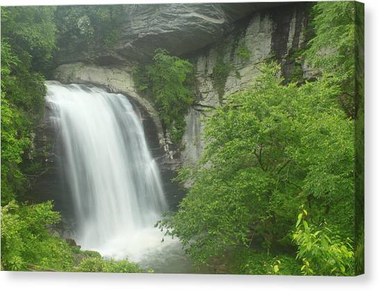 Pisgah National Forest Canvas Print - Looking Glass Falls Pisgah National Forest by John Burk
