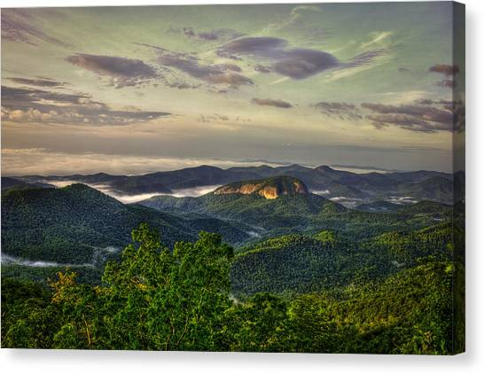 Pisgah National Forest Canvas Print - Sunrise On Looking Glass Rock Blue Ridge Parkway by Reid Callaway