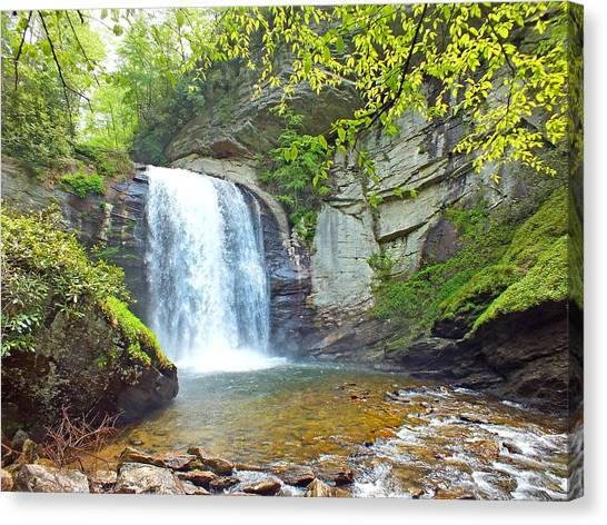 Looking Glass Waterfall In The Spring 2 Canvas Print