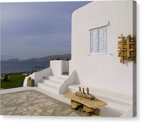 Looking Out To Sea In Mykonos Canvas Print