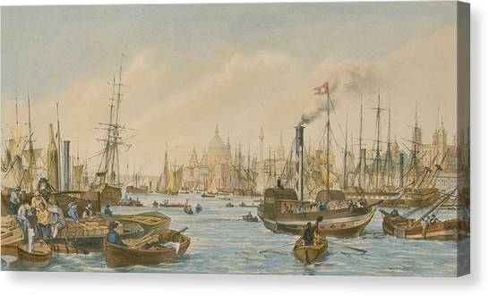 Tower Of London Canvas Print - Looking Towards London Bridge by William Parrot