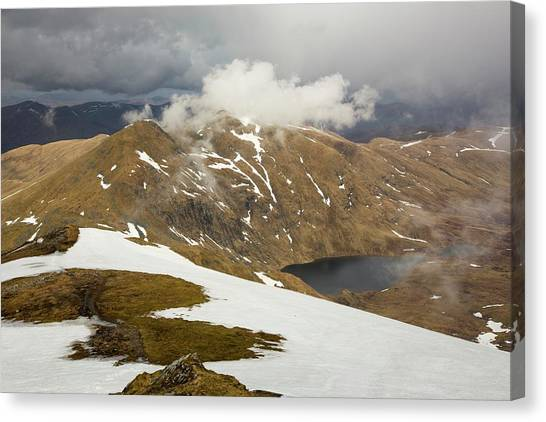 Snow Melt Canvas Print - Looking Towards Meall Garbh by Ashley Cooper