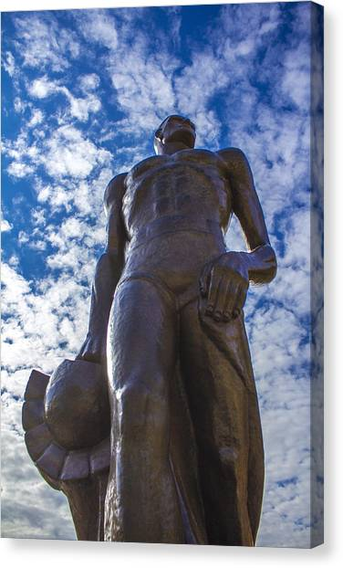 Looking Up At The Spartan Statue Canvas Print