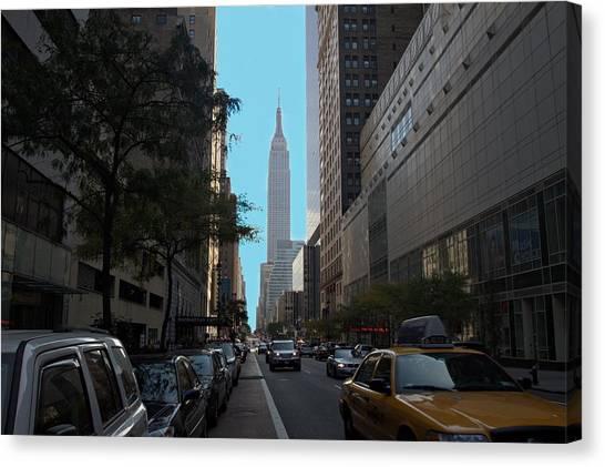 Looking Up Eight Ave In Ny. Ny Canvas Print by Edward Kocienski