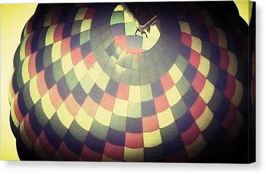 Hot Air Balloons Canvas Print - Looking Up Yellow Balloon by Candy Floss Happy