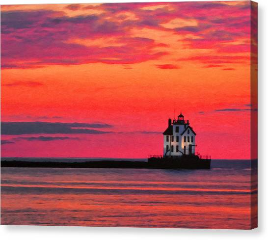 Lorain Lighthouse At Sunset Canvas Print