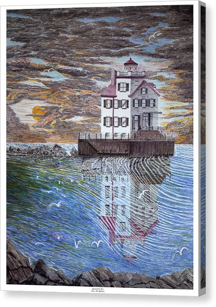 Lorain Lighthouse Canvas Print by Frank Evans