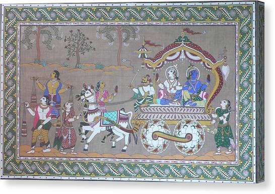 Lord Krishna With Brother Visiting Mathura Canvas Print by Prasida Yerra