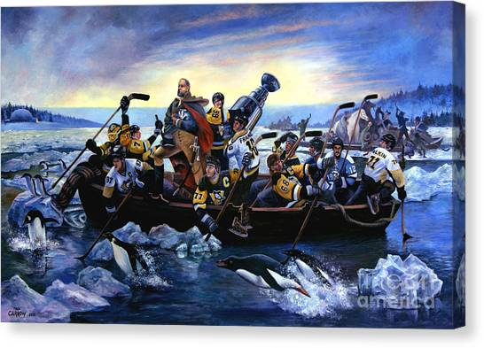 Hockey Players Canvas Print - Lord Stanley And The Penguins Crossing The Allegheny by Fred Carrow