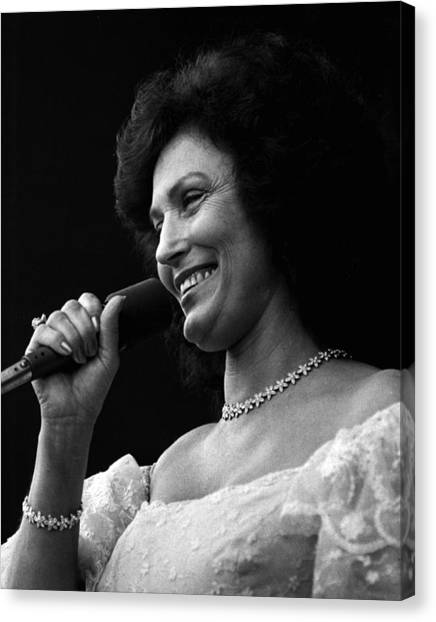 First Ladies Canvas Print - Loretta Lynn Singing  by Retro Images Archive