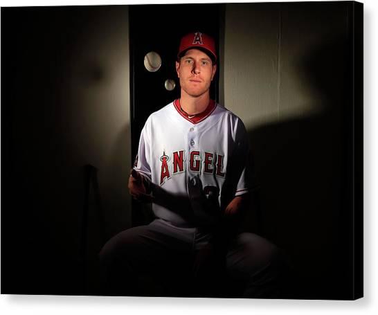 Josh Hamilton Canvas Print - Los Angeles Angels Of Anaheim Photo Day by Jamie Squire