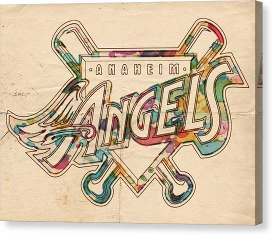Los Angeles Angels Canvas Print - Los Angeles Angels Of Anaheim Vintage Logo by Florian Rodarte