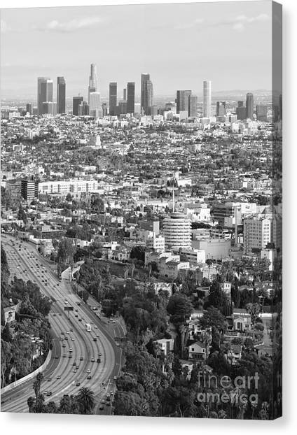 Los Angeles Basin And Los Angeles Skyline Black And White Monochrome Canvas Print