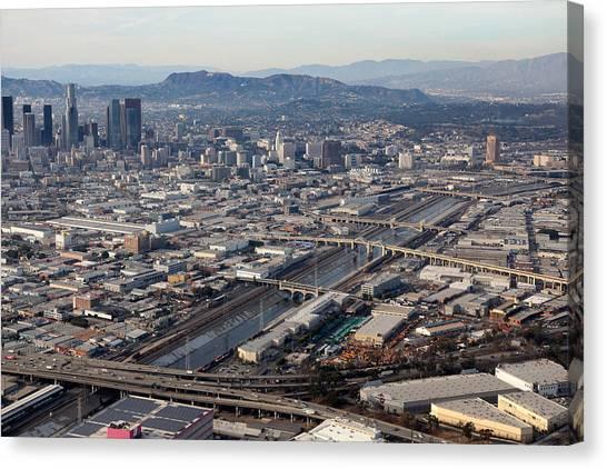 Los Angeles Bridges Aerial Canvas Print by Kevin  Break
