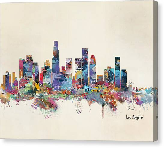 Los Angeles Skyline Canvas Print - Los Angeles California Skyline by Bri Buckley
