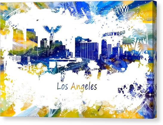 Los Angeles Angels Canvas Print - Los Angeles California Skyline Yellow Blue by Justyna JBJart