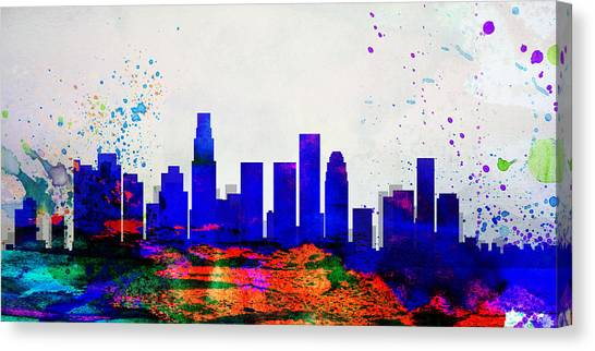 Los Angeles Skyline Canvas Print - Los Angeles City Skyline by Naxart Studio