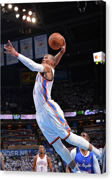 Russell Westbrook Canvas Print - Los Angeles Clippers V Oklahoma City by Jesse D. Garrabrant