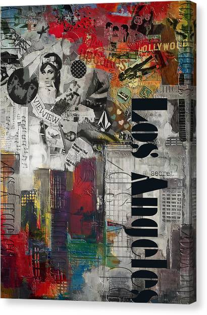 University Of Chicago Canvas Print - Los Angeles Collage Alternative by Corporate Art Task Force