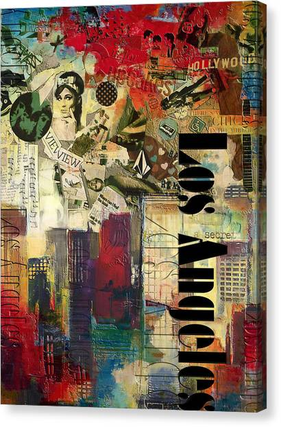 University Of Chicago Canvas Print - Los Angeles Collage  by Corporate Art Task Force