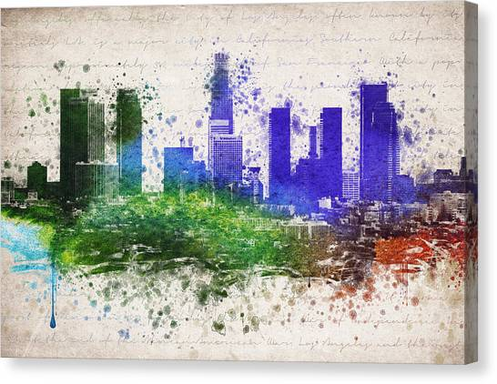 Los Angeles Skyline Canvas Print - Los Angeles In Color  by Aged Pixel