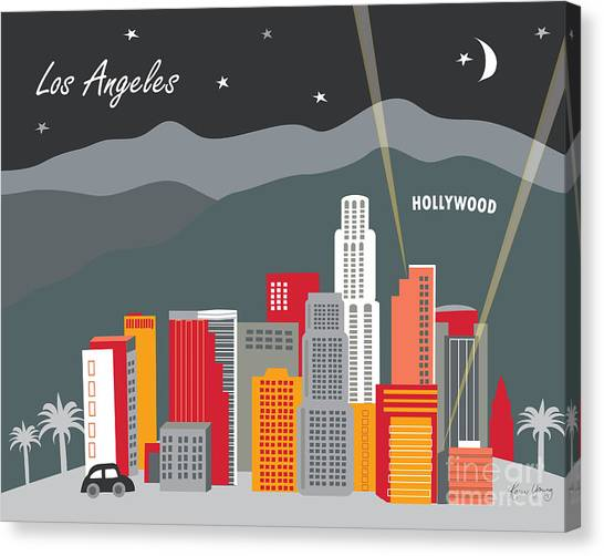 Movies Canvas Print - Los Angeles California Horizontal Skyline - Hollywood Hills - Night by Karen Young