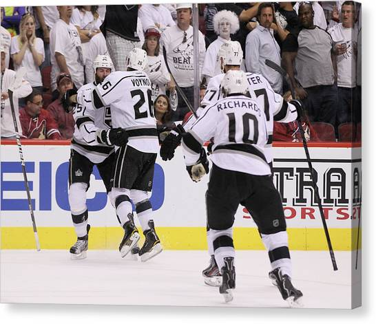 Los Angeles Kings V Phoenix Coyotes - Canvas Print by Jeff Gross